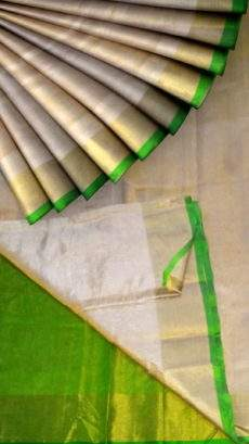 Off white Tissue Silk Saree with green pallu & border-yespoho