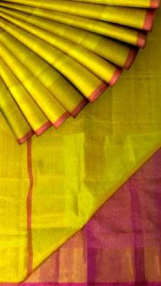 Yellow Tissue Silk Saree with magenta pallu & border-yespoho