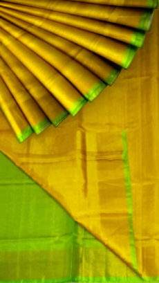 Golden Yellow Tissue Silk Saree with green pallu & border-yespoho