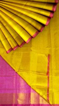 Yellow Tissue Silk Saree with pink pallu & border-yespoho