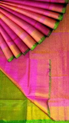 Pink Tissue Silk Saree with green pallu & border-yespoho