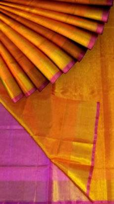 Orange and Pink Tissue Silk Saree with Plain Design on a Semi-Contrast Border-yespoho