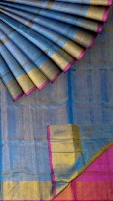 Blue Tissue Silk Saree with dark pink pallu & border-yespoho