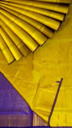 Yellow Tissue Silk Saree with violet pallu & border-yespoho