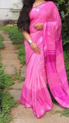 Pink Linen Saree with Dark Pink Striped Pallu-yespoho