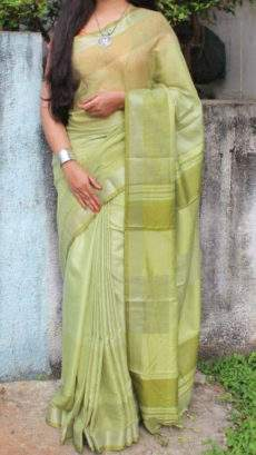 Lemon Green Linen Saree with plain pattern-yespoho