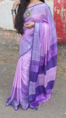 Violet Linen Saree with plain pattern-yespoho
