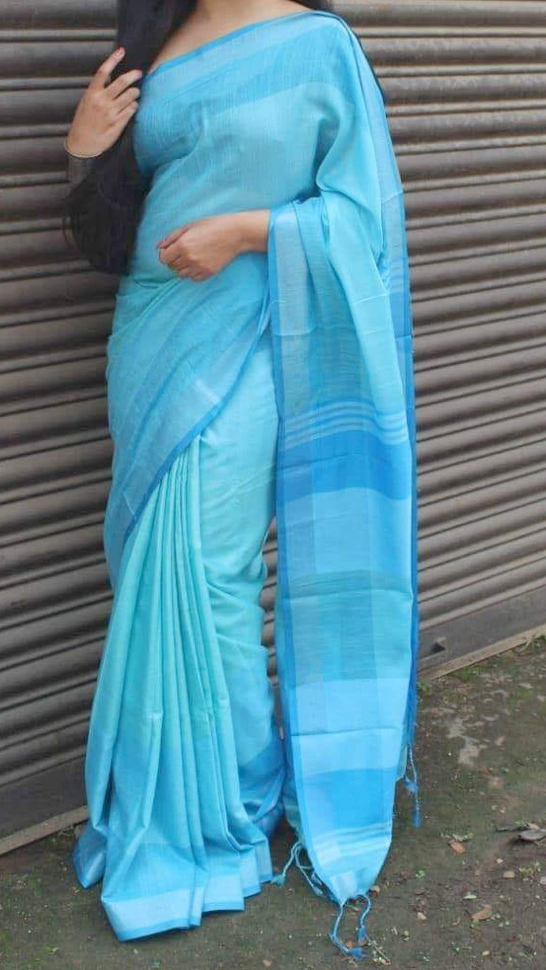 Sky Blue Linen Saree with Striped and Checks Design Pallu