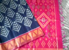 Dark Blue and Pink Color Pochampally Silk Cotton Saree-yespoho