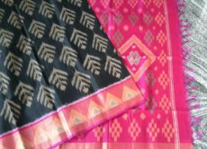 Black and Pink Color Pochampally Silk Cotton Saree-yespoho