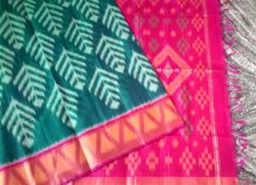 Dark Green and Pink Color Pochampally Silk Cotton Saree-yespoho