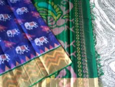 Violet and Green Color Pochampally Silk Cotton Saree-yespoho