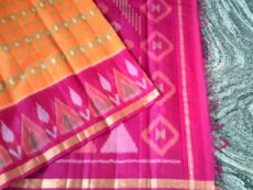 Yellow and Pink Color Pochampally Silk Cotton Saree-yespoho