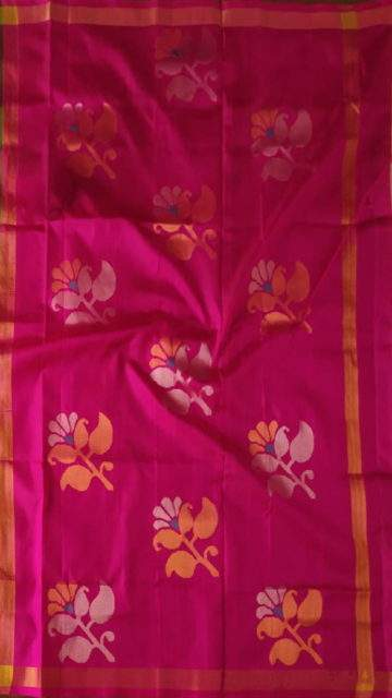 Green Green and Magenta Uppada Jamdani Saree with Butta pattern