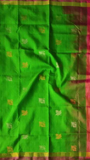 Yespoho Green and Magenta Uppada Jamdani Saree with Butta pattern