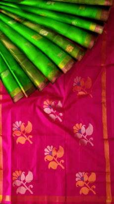 Green and Magenta Uppada Jamdani Saree with Butta pattern-yespoho
