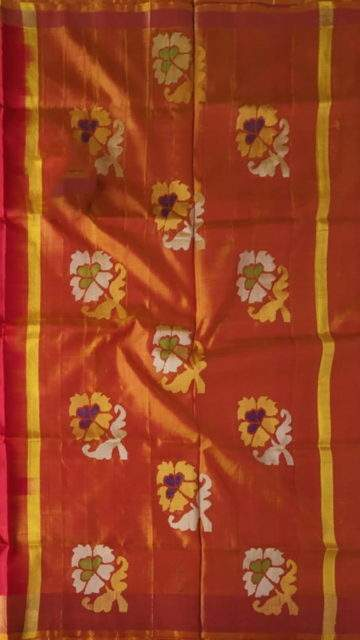 Peach Red and peach Uppada Jamdani saree with flower butta