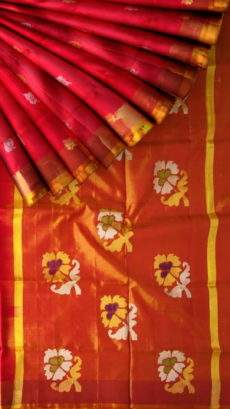 Red and peach Uppada Jamdani saree with flower butta-yespoho