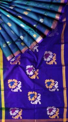 Royal blue and teal Uppada Jamdani saree-yespoho