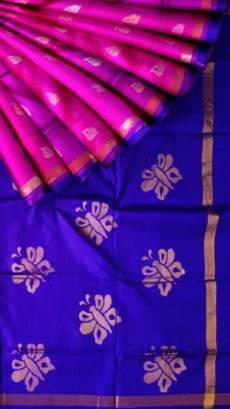 Magenta and royal blue Uppada Jamdani Saree-yespoho