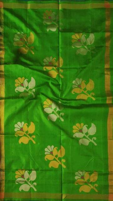 Green Green and teal Uppada Jamdani saree with flower butta pallu