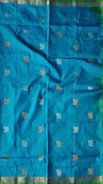 Yespoho Green and teal Uppada Jamdani saree with flower butta pallu