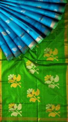 Green and teal Uppada Jamdani saree with flower butta pallu-yespoho