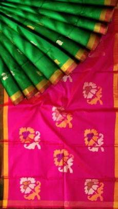 Dark green and magenta Uppada Jamdani saree-yespoho