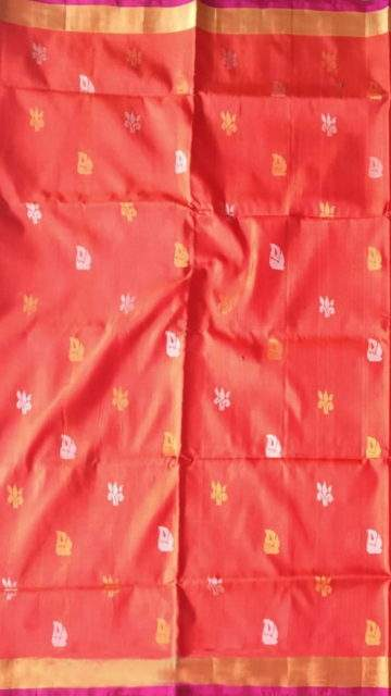 Yespoho Magenta and peach Uppada Jamdani Saree with Butta pattern