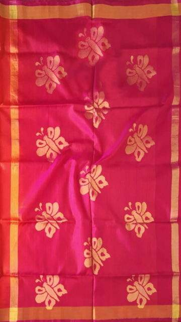 Magenta Magenta and peach Uppada Jamdani Saree with Butta pattern