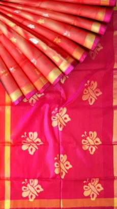 Magenta and peach Uppada Jamdani Saree with Butta pattern-yespoho