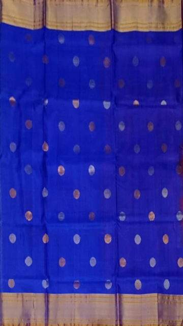 Yespoho Red and royal blue Uppada Jamdani saree with rich pallu
