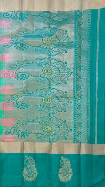Multicolor Multicolor and teal Uppada Jamdani Saree with Butta and checks pattern