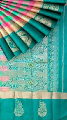 Multicolor and teal Uppada Jamdani Saree with Butta and checks pattern-yespoho