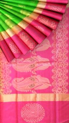 Green and pink Uppada Jamdani saree with butta pallu-yespoho