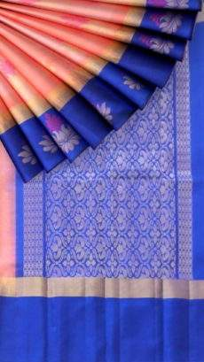 Royal blue and baby pink Uppada Jamdani saree-yespoho