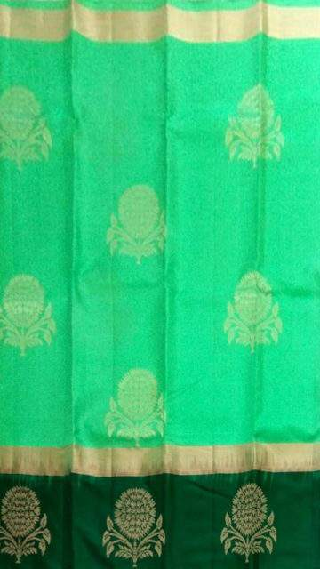 Yespoho Bottle green and meenakshi green Uppada Jamdani Saree