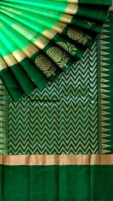 Bottle green and meenakshi green Uppada Jamdani Saree-yespoho