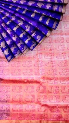 Royal blue with animal butta with peach pallu soft silk saree-yespoho