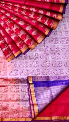Magenta with animal butta and blue pallu soft silk saree-yespoho