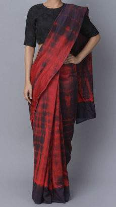 Black and red light weight soft Cotton Saree-yespoho
