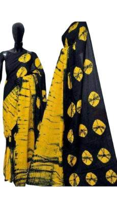 Golden yellow with black soft cotton saree-yespoho