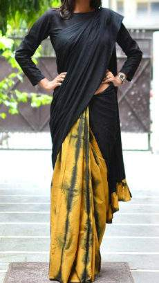 Mango yellow with black pallu and fancy design soft cotton saree-yespoho