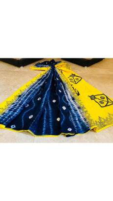 Yellow with Blue and White pallu soft Cotton Saree-yespoho