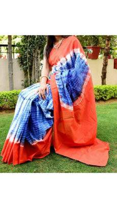 Navy blue with white stripes orange pallu & border soft cotton saree-yespoho