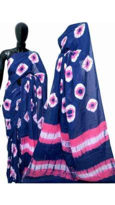 Blue with pink & white handwoven soft cotton saree-yespoho