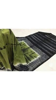 Mehendi green with black white handwoven soft cotton saree-yespoho