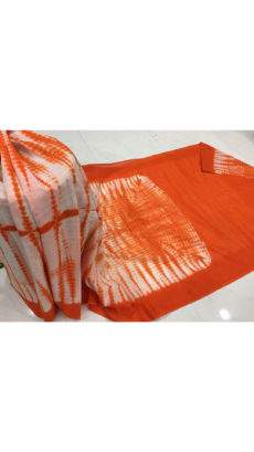 Orange with white handwoven soft cotton saree-yespoho