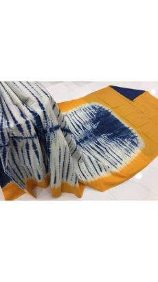 Blue with white & mango yellow border handwoven soft cotton saree-yespoho