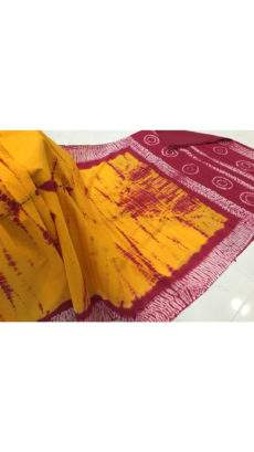 Golden yellow with maroon stripes soft cotton handwoven saree-yespoho